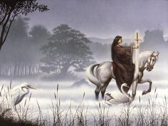 "The original cover art (wrap-around) for the book ""The Mists of Avalon"" by Marion Zimmer Bradley.  Been looking for a poster of this FOREVER, but it's $350 from the artist's website.  (Brandt Bralds, I think)"
