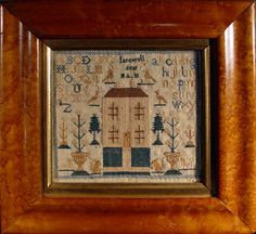 """mourning Miniature Sampler. """"Farewell dear"""" with a nice house flanking by two urns and trees.  Early 19th Century.    Size:  8 1/4"""" H x 8 3/4"""" W"""