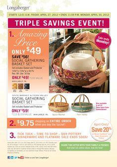 What an amazing deal on a Beautiful, Huge basket and it comes with the protector for only $49 in 3 color stains or $59 for Spice Market or Fern Valley!    Order with the link below!    http://ic.longaberger.com/esuite/home/lauriecarfagno?showID=15681538=Laurie+Carfagno=05%2F15%2F2012