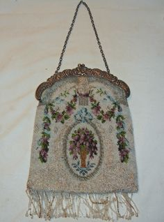 Vintage Micro Beaded Floral Purse Handbag w/ Ornate Metal Clasp