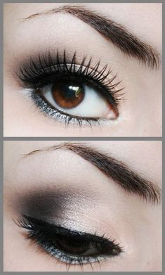 Black Shimmery Grey Smokey Eye Makeup