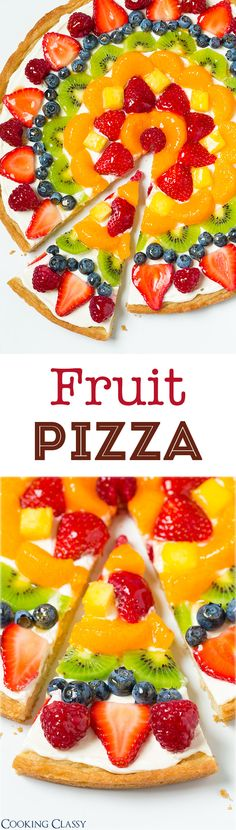 Fruit Pizza - this is one of my favorite summer desserts! Love the sweet cream cheese topping with all the fresh fruit! (recipe for homemade crust and store-bought method included) (Fruit Pizza Recipes) Comidas Light, Fruit Dishes, Fruit Salads, Cookies Et Biscuits, Sugar Cookies, Cream Cookies, Chip Cookies, Love Food, Healthy Snacks