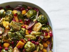 Brussels Sprouts with Butternut Squash and Pomegranate Seeds Recipe : Ree Drummond : Food Network Thanksgiving Recipes, Fall Recipes, Dinner Recipes, Holiday Recipes, Holiday Meals, Thanksgiving 2017, Top Recipes, Amazing Recipes, Potato Recipes
