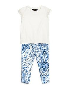 Ralph Lauren - Toddler Girl's Lace Cap Sleeve Top and paisley Leggings