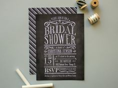 Chalkboard Invitation Chalk board Bridal Shower by BanterandCharm