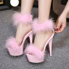Womens High Platform Furry Peep Toe Sandals Heel Stilettos Ankle Fur Shoes in Clothing, Shoes & Accessories, Women's Shoes, Heels Rosa High Heels, Pink High Heels, Super High Heels, Sexy High Heels, Platform Stilettos, High Heels Stilettos, Stiletto Heels, Platform Shoes, Fur Heels
