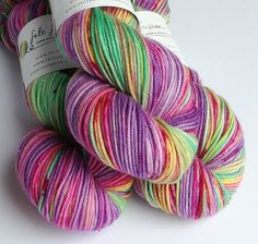 Hand dyed yarn, silver sparkle DK yarn, superwash merino/nylon/stellina double knit yarn, indie dyed speckled wool yarn, pink green yellow by FeltFusion on Etsy