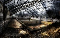 a swimming hall in an abandoned hospital/sanatory complex in Hohenlychen near Berlin