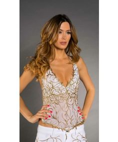 Roxanni R 165 Stacy White With Gold By Holt  Find More : http://www.imaddictedtoyou.com/