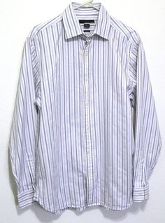 Michael Kors Shirt Classic Fit Size Large L Button Down Striped Long Sleeves #MichaelKors #ButtonFront