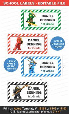 School Name Labels/ School Labels/ Printable school Name Labels for boy/ School Name Tags Boys/ Back to School Labels/ School Name Stickers Name Tag For School, School Name Labels, School Supply Labels, Avery Label Templates, Name Tag Templates, Notebook Labels, Preschool Names, Personalized Labels, Printable Labels