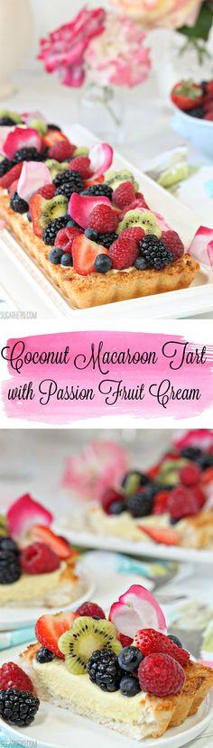 Coconut Macaroon Tart - grain-free, gluten-free coconut tart filled with passion fruit cream and fresh berries! | From SugarHero.com