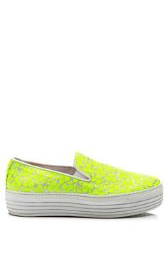 Fluoro Yellow Trifoglio Embroidered Sneakers With Double Sole by Joshua Sanders - Moda Operandi