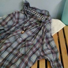 Mudd plaid shirt! EUC! Blue purple L I don't think this was ever worn. Just washed a couple times.  It is long sleeve plaid. Light weight cotton. Blue and purple plaid. Size large.   Open to offers. Sorry, no trades. Thanks! :) Mudd Tops Button Down Shirts