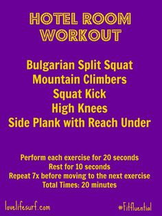 Hotel Room Workout @cyu888 #fitfluential