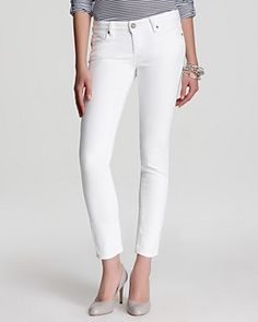 Paige Denim Jeans - Skyline Ankle Peg in Optic White | Bloomingdale's