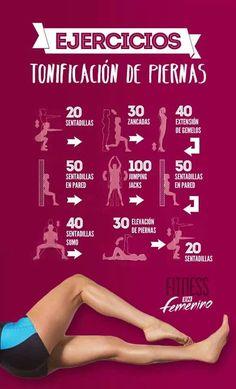 INFO COMPARTIDA! Aquí una buena tabla de ejercicios para las piernas, tonifica y fortalece.