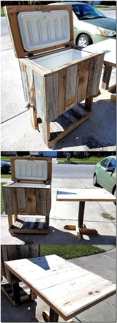 We never forget to add the ideas of pallets recycling to create the items that serve for two different purposes, so here we are with the pallet cooler and table idea. It seems like a table, but it also works as a cooler enjoy cold drinks.