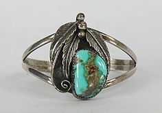 Native American Indian Jewelry; Navajo Sterling Silver Turquoise bracelet