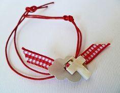 μαρτυρικά βάπτισης αγόρι κόκκινο με λευκό σταυρουδάκι