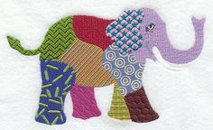 PATCHWORK ELEPHANT   Machine Embroidered Quilt by AzEmbroideryBarn, $19.95