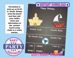 Nautical Chalkboard art Instant Download by EasyPartyPrintables, $7.95