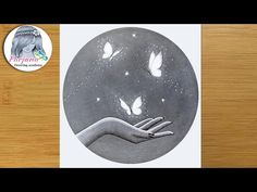 How to draw magical butterflies in hand - Pencil sketch for beginners || Night scenery drawing