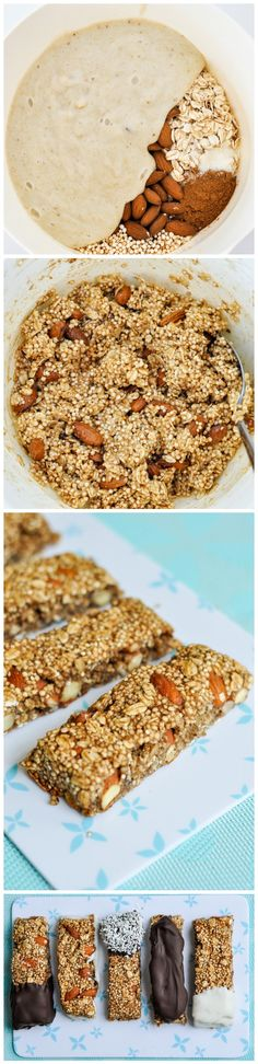 Puffed Quinoa Oat Bars Recipe - Dip in chocolate or melted coconut for a extra s. Puffed Quinoa Oat Bars Recipe - Dip in chocolate or melted coconut for a extra special treat! Easily customize this recipe with other ingredients Vegan Desserts, Vegan Recipes, Snack Recipes, Cooking Recipes, Healthy Sweets, Healthy Snacks, Puffed Quinoa, Snacks Saludables, Yummy Food