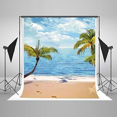 GoEoo 5x5ft Beautiful Sea View Beach Backdrop Seaside Tropical Forest Palm Tree Sand Island Mountains Seascape Photography Background for Wedding Party Events Buseinss Birthday Photo Studio Props