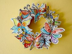 Recycled Butterfly Wreath | AllFreeHolidayCrafts.com