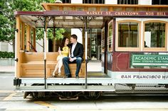 San Francisco engagement shoot ~ on a tram! Photos by Melanie Duerkopp http://su.pr/1K2MgO