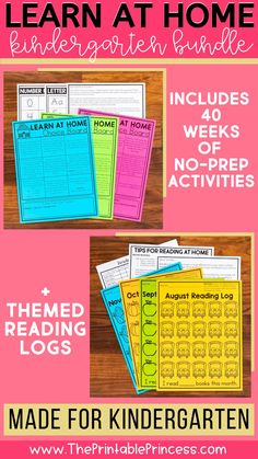 Learn at home with 40 weeks of no-prep activities! Just print and go! These activities will help your students stay on track in math and literacy while learning from home! Students will practice their letter names, letter sounds, counting and cardinality, sight words and so much more!