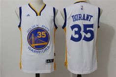 cf924f0f1 Men s Golden State Warriors Kevin Durant White Revolution 30 Swingman  35  Player Adidas Home Jersey
