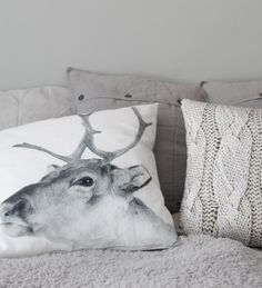 Reindeer, Knit, Cushion covers, Winter, Grey