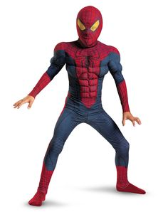 Spiderman Movie Light-Up Muscle Child Costume exclusively at Spirit Halloween - Light up whatever web you weave on Halloween when you wear this officially licensed Spider-Man Movie Light-Up Muscle child costume. The red, blue and black character jumpsuit features a muscle torso and arms, complete with a character hood and batteries. Get yours from your local Spirit store for $39.99.