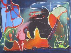 lyrisch abstract  acryl op doek mixed media