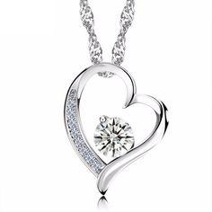 LOVERS - dámsky náhrdelník - tvar srdca - osadený rakúskym krištáľom - číry Heart Shaped Necklace, Silver Pendant Necklace, Crystal Necklace, Pendant Jewelry, Heart Necklaces, Silver Necklaces, Jewelry Necklaces, Jewellery, Silver Anklets