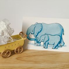 World elephant day 12th August  A personal favourite from my Etsy shop https://www.etsy.com/uk/listing/238873701/elephant-and-baby-greeting-card-for-new