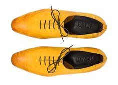 Sunrise Hand Brushed Yellow and Orange Ombre Nubuck by ARAMAshoes, $230.00