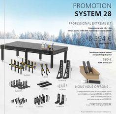 Offre promotionnelle de fin d'année sur une table de soudure en système 28 avec son lot d'accessoires. Les pieds à roulette ou réglable en hauteur ou à ancrage au sol sont offerts.