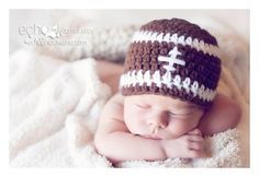 Football or Baseball hat newborn,0-3 mo, 3-6 mo Photo Prop team colors crochet. $13.00, via Etsy.