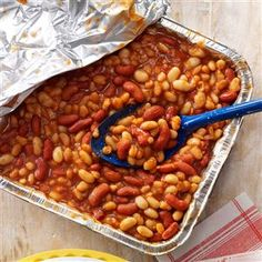 Quick Barbecued Beans Recipe -A simple, classic recipe, but cooking it on the grill introduces a subtle flavor. This dish features a nice blend of beans and preparation time is minimal. —Millie Vickery, Lena, Illinois