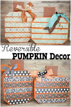 Need a simple Fall project that'll decorate your house for Halloween and Thanksgiving? These easy 2x4 pumpkins feature a whimsical design for October and a classic design for November festivities! Great project for a girl's night out, Young Women, or a craft night in. Inexpensive holiday pumpkins. Reversible Pumpkin Decor