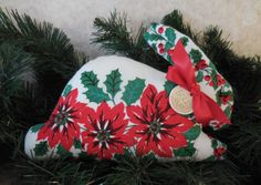 Primitive Christmas Bunny Pillow Tuck Vintage Tablecloth Holly Bunny by auntiemeowsprims on Etsy