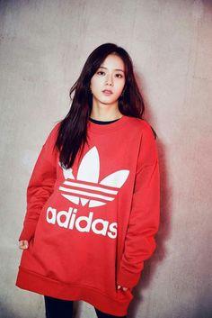 Adidas with Blackpink Kim Jennie, Jenny Kim, Blackpink Jisoo, Adidas Wallpaper, Black Pink ジス, Blackpink Photos, Blackpink Fashion, Swagg, South Korean Girls