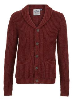 Red Textured  shawl collar cardigan - Men's Jumpers & Cardigans  - Clothing