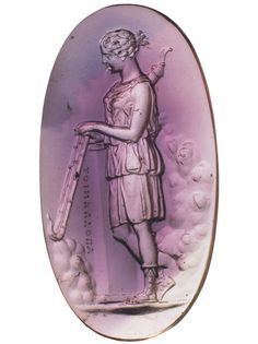 Artemis with torches.  Intaglio. Amethyst. Second half of the 1st century B.C.  By the engraver Apollonios.  2.6 × 1.4 cm.