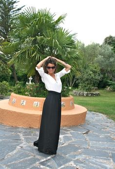 Crisp white shirt, black maxi skirt & pearl earrings -- perfect outfit