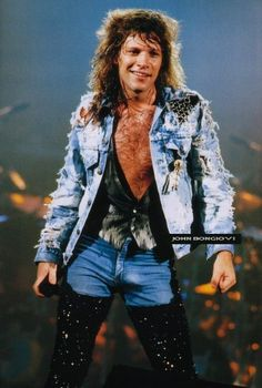 Jon Bon Jovi during Slippery When Wet era (when he had long hair & chest hair lol)