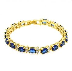 Blue Cubic Zirconia Sapphire Yellow Gold Plated Crystal Clasp Bangle Bracelet  | eBay